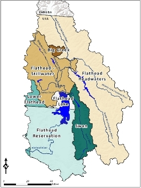 TMDL Planning Areas in the Flathead River Watershed