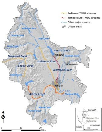 Map of streams in the Flathead-Stillwater TMDL Planning Area with sediment or temperature TMDLs